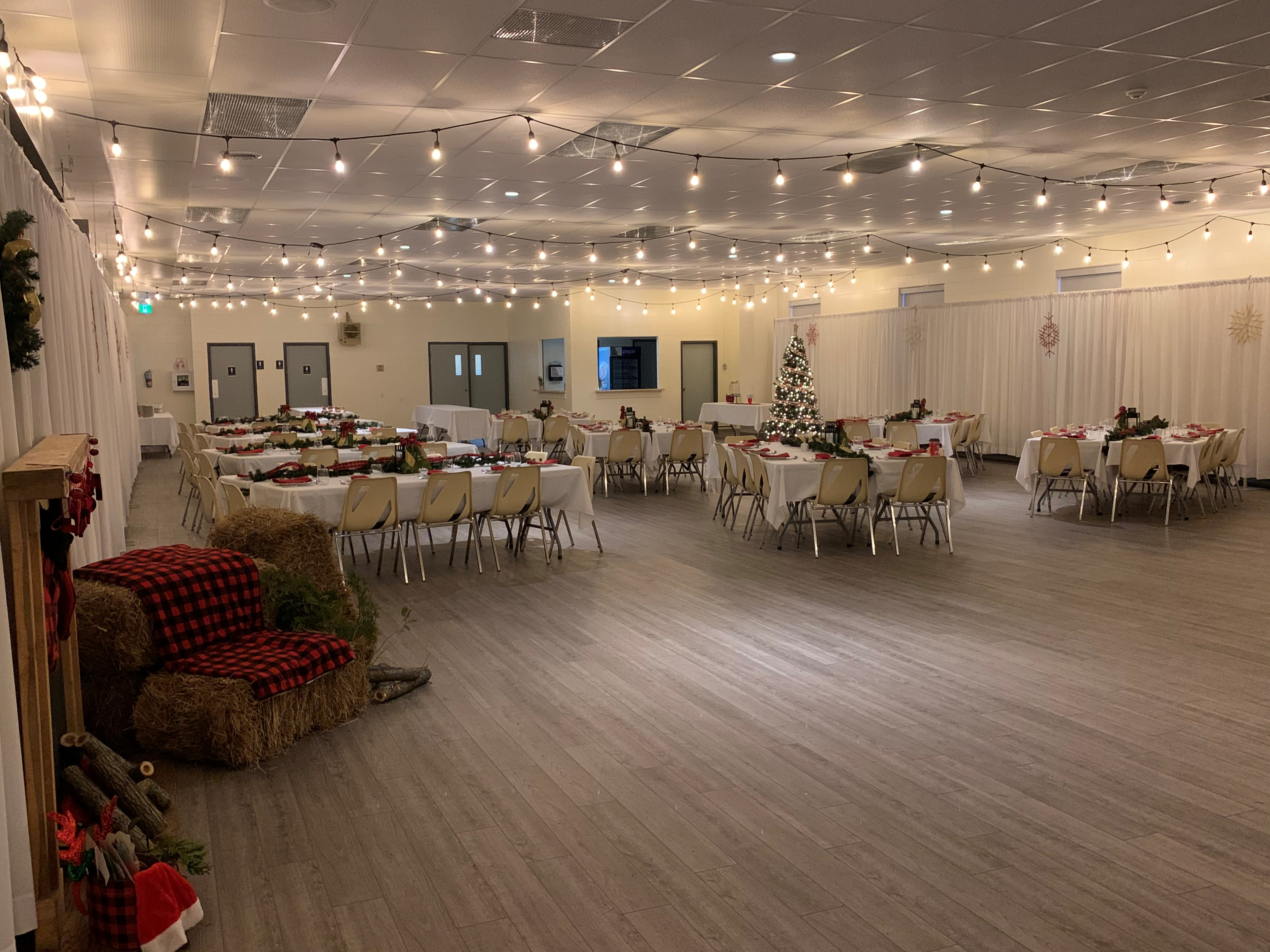 Shallow Lake Community Centre with Christmas setup